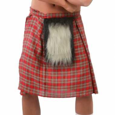 Schotse kilt met rode ruitjes en bont